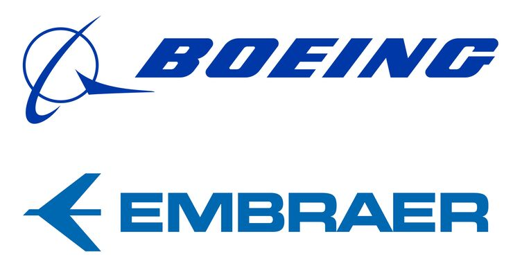 Boeing und Embraer Logos
