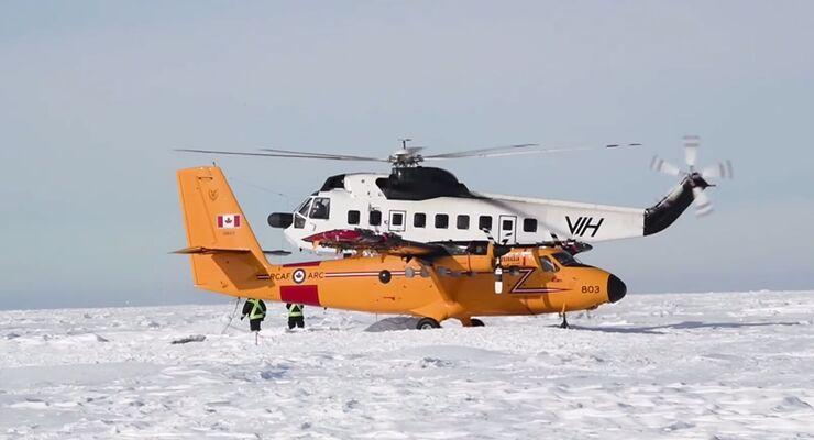 Eine CC-138 Twin Otter der RCAF wir mit einer S-61N geborgern.