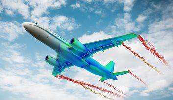 Wirbelströmung am Airbus A320-232 ATRA, dem größten Forschungsflugzeug des DLR.
